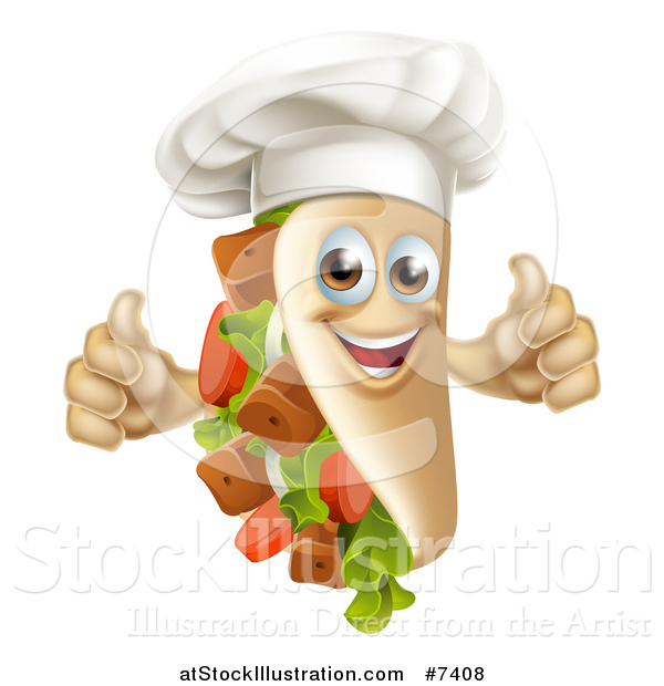 Vector Illustration of a Chef Souvlaki Kebab Sandwich Mascot Giving Two Thumbs up