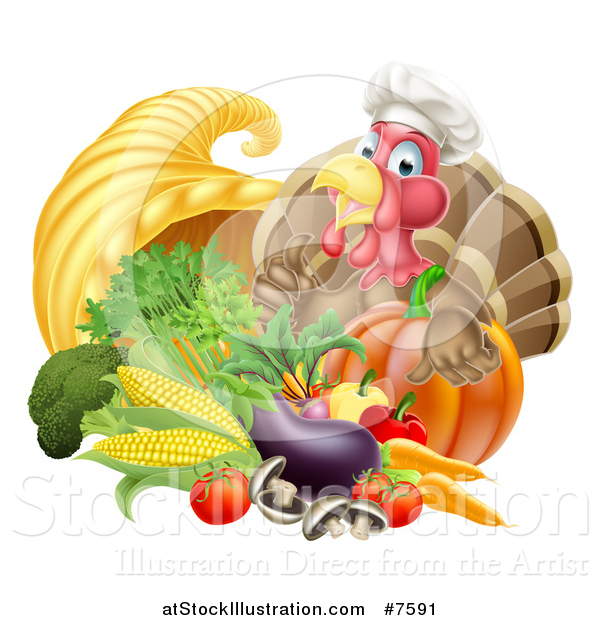 Vector Illustration of a Chef Turkey Bird Giving a Thumb up over a Pumpkin and Harvest Cornucopia 2