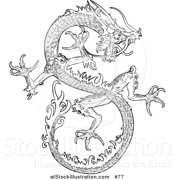 Vector Illustration of a Chinese Dragon - Outlined Version