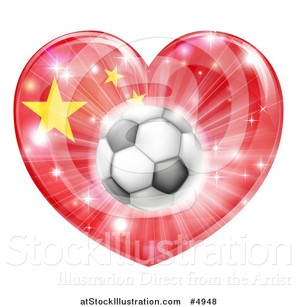 Vector Illustration of a Chinese Flag Heart and Soccer Ball