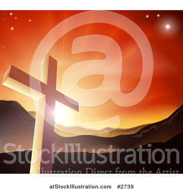 Vector Illustration of a Christian Cross Against a Sunset and Mountains