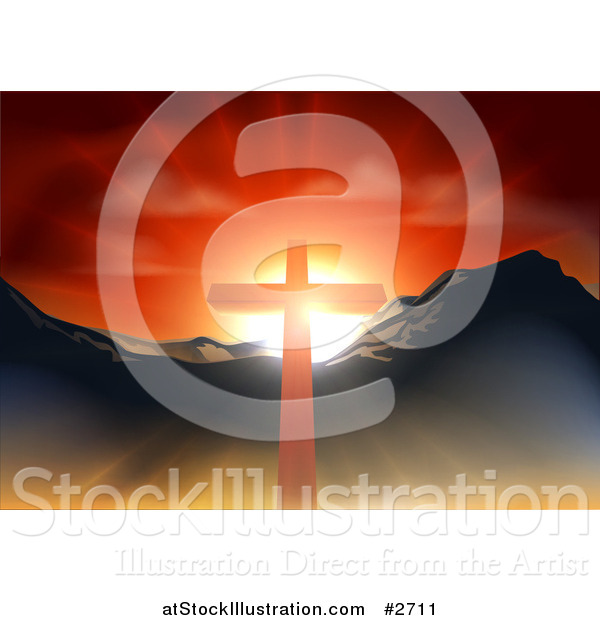 Vector Illustration of a Christian Crucifix Against a Sunset and Mountains