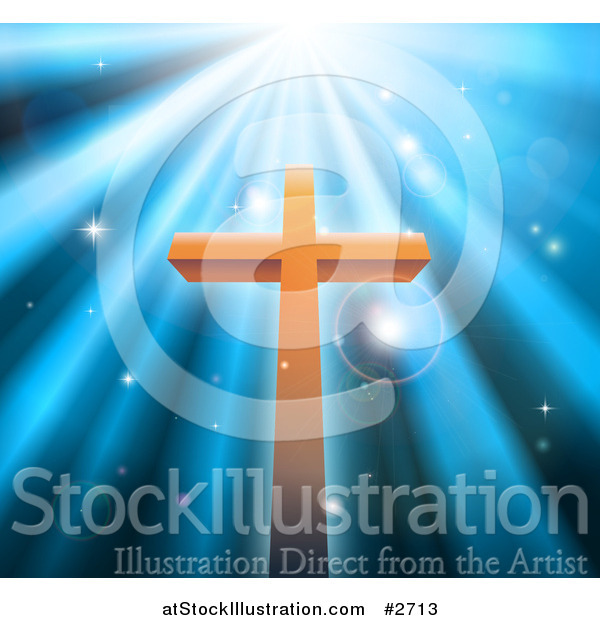 Vector Illustration of a Christian Crucifix Against Blue Heavenly Rays and Sparkles