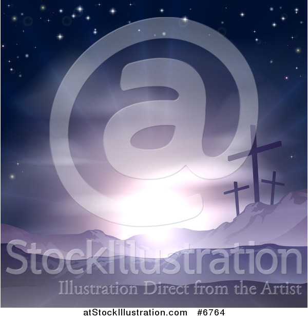 Vector Illustration of a Christian Easter Background of Crosses on Calvary Hill Against Purple Sunshine