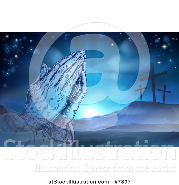 Vector Illustration of a Christian Easter Background of Praying Hands over Two Thieves Crosses on Calvary Hill