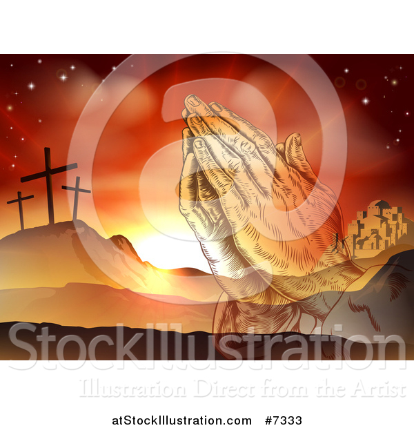 Vector Illustration of a Christian Easter Background of Praying Hands over Two Thieves Crosses on Calvary Hill Outside the City Walls of Bethlehem