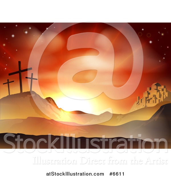 Vector Illustration of a Christian Easter Background of Two Thieves Crosses on Calvary Hill Outside the City Walls of Bethlehem