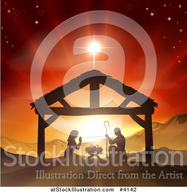 Vector Illustration of a Christian Nativity Scene of the Birth of Baby Jesus in the Manger Under the Star of Bethlehem