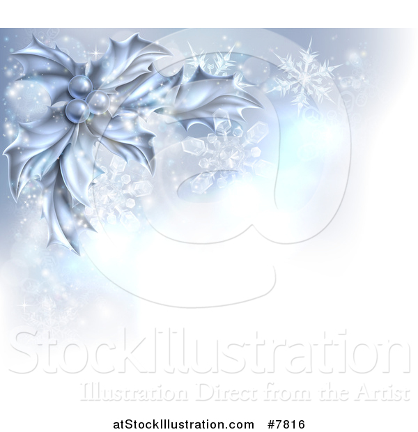 Vector Illustration of a Christmas Background of Frozen Holly, Berries, Snowflakes and Flares with a Corner of Text Space