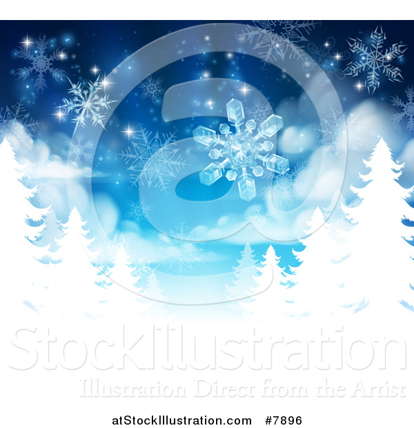 Vector Illustration of a Christmas Background of Snowflakes Falling down over White Evergreen Winter Trees in Blue TonesChristmas Background of Snowflakes Falling down over White Evergreen Winter Trees in Blue Tones