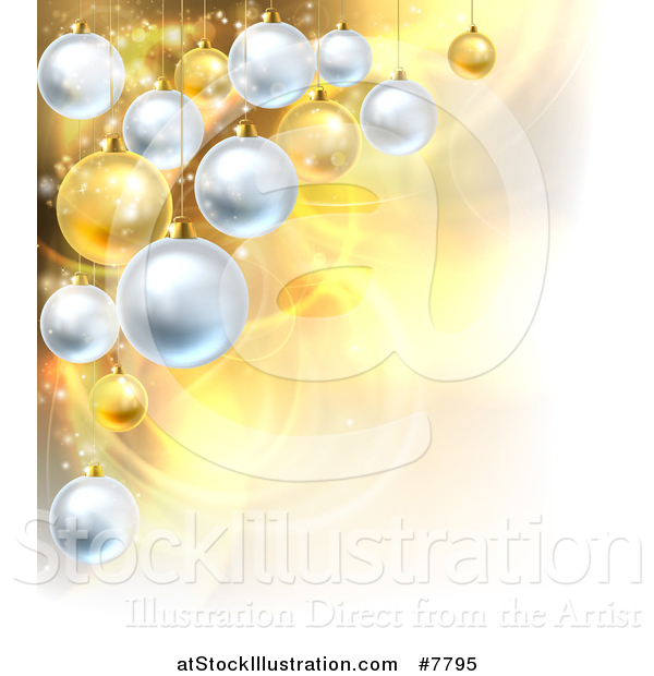 Vector Illustration of a Christmas Background with 3d Bauble Ornaments over Golden Magic Lights and Flares