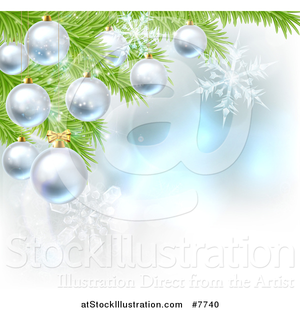 Vector Illustration of a Christmas Background with 3d Bauble Ornaments Suspended from a Tree over Magic Lights and Snowflakes