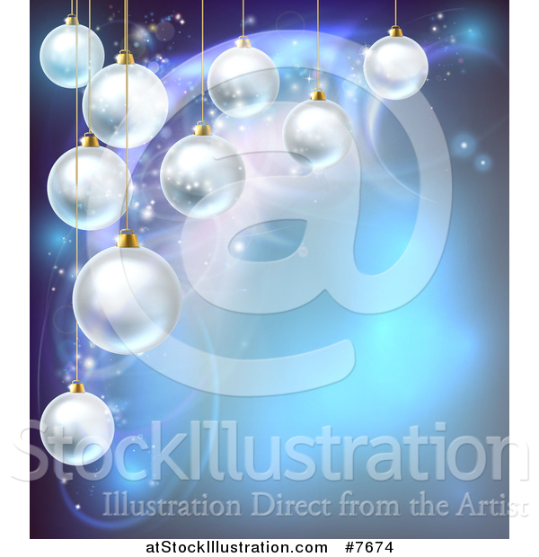 Vector Illustration of a Christmas Background with 3d Suspended Bauble Ornaments over Blue Magic Lights