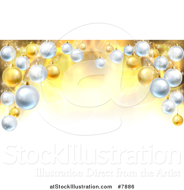 Vector Illustration of a Christmas Background with a 3d Arch of Bauble Ornaments over Golden Magic Lights and Flares