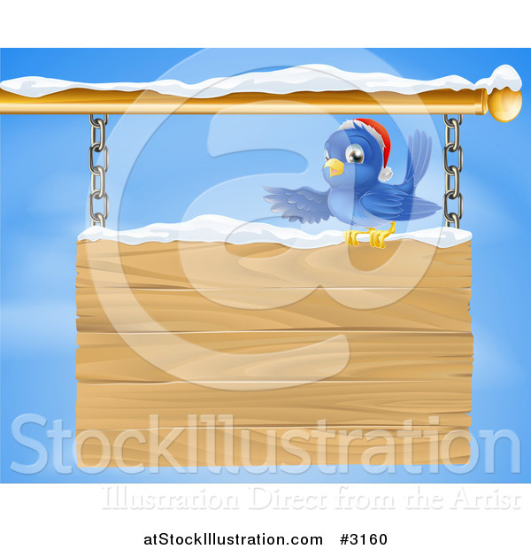 Vector Illustration of a Christmas Bluebird Perched in Snow and Presenting a Hanging Wood Sign Against a Sky