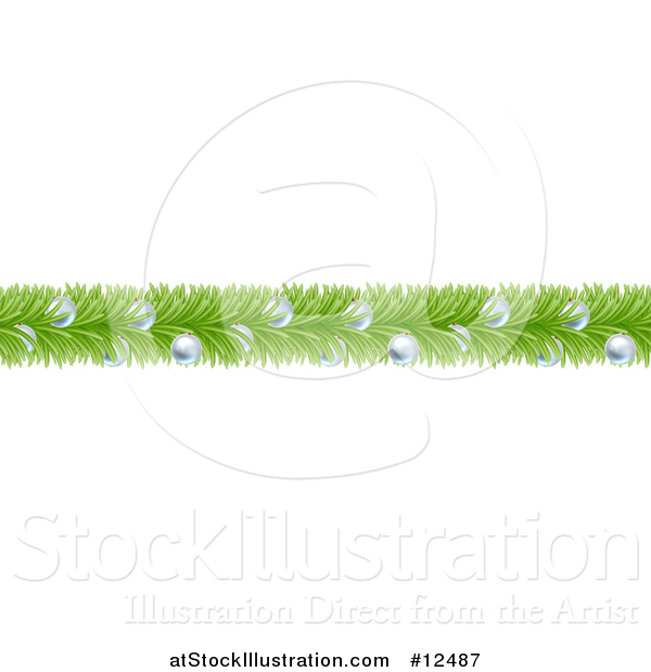 Vector Illustration of a Christmas Branch Garland with Silver Baubles
