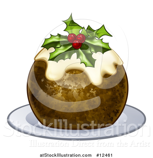 Vector Illustration of a Christmas Pudding Cake with Holly and Berries, on a White Plate