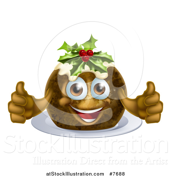 Vector Illustration of a Christmas Pudding Character Giving Two Thumbs up
