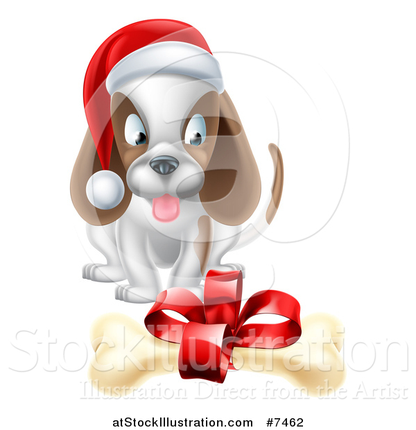 Vector Illustration of a Christmas Puppy Dog Sitting and Looking at a Gift Bone