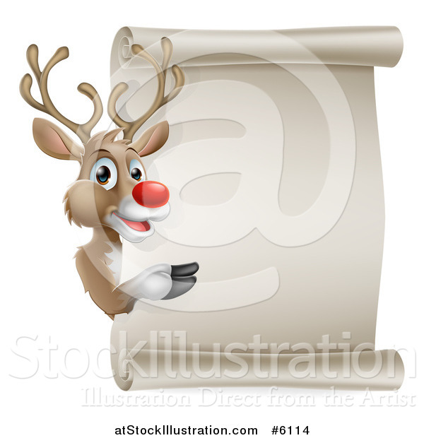 Vector Illustration of a Christmas Red Nosed Rudolph Reindeer Presenting a Blank Scroll Sign