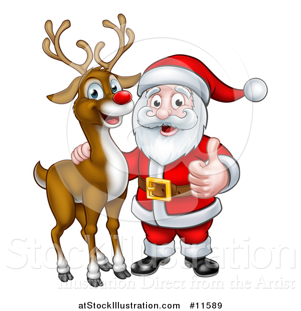 Vector Illustration of a Christmas Reindeer with Santa Holding a Thumb up