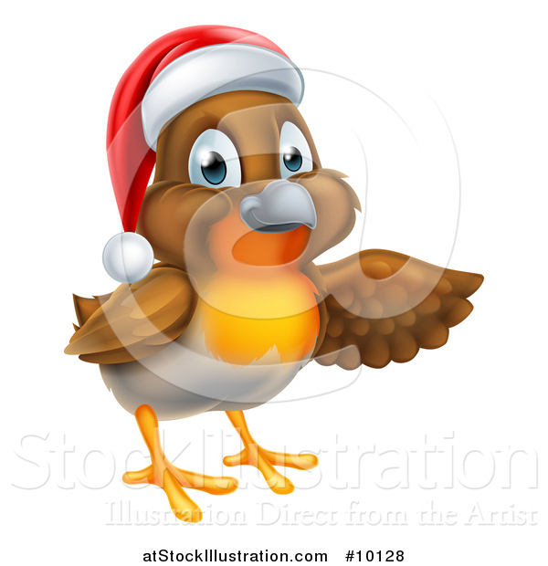 Vector Illustration of a Christmas Robin in a Santa Hat, Pointing to the Right