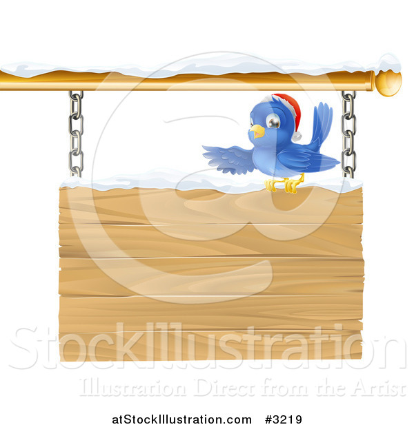 Vector Illustration of a Christmas Robin with a Santa Hat Pointing over a Snow Covered Wooden Sign