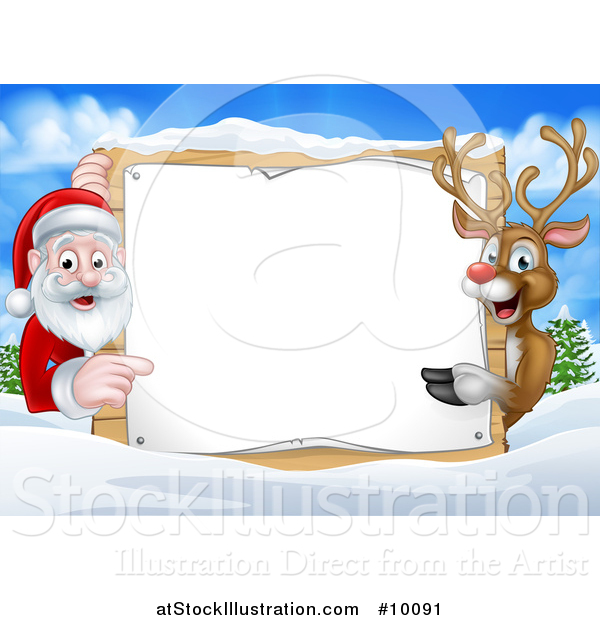 Vector Illustration of a Christmas Santa Claus and Rudolph Red Nosed Reindeer Pointing Around a Sign over a Winter Landscape