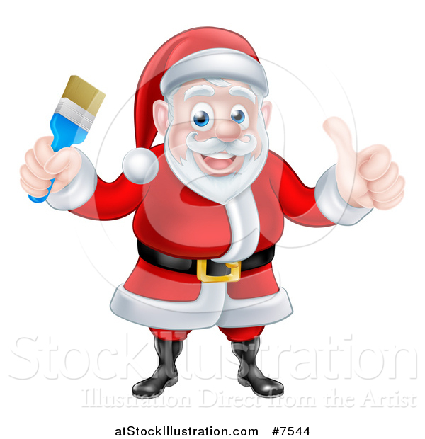 Vector Illustration of a Christmas Santa Claus Giving a Thumb up and Holding a Blue Paintbrush