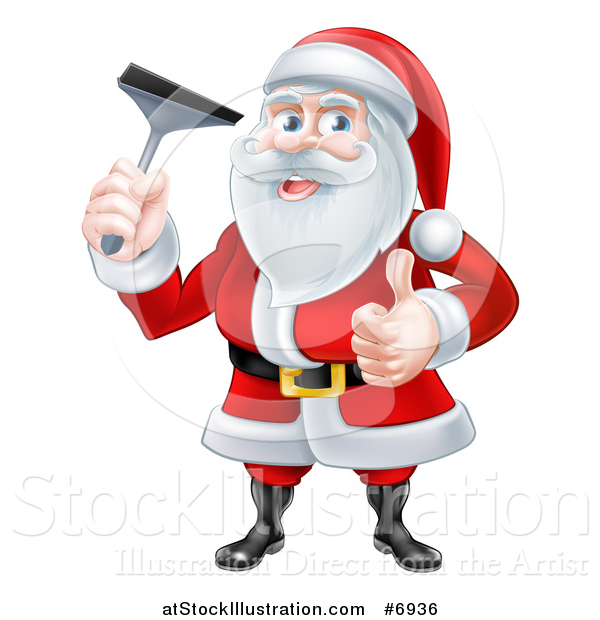 Vector Illustration of a Christmas Santa Claus Giving a Thumb up and Holding a Window Cleaning Squeegee