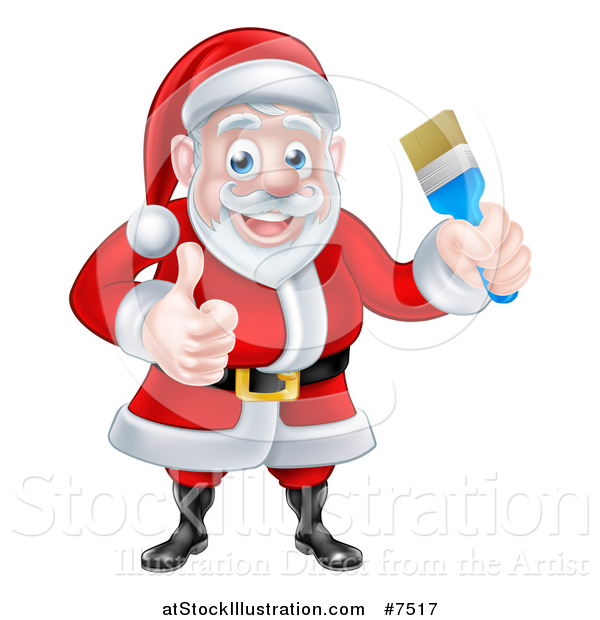 Vector Illustration of a Christmas Santa Claus Holding a Blue Paintbrush and Giving a Thumb up 2
