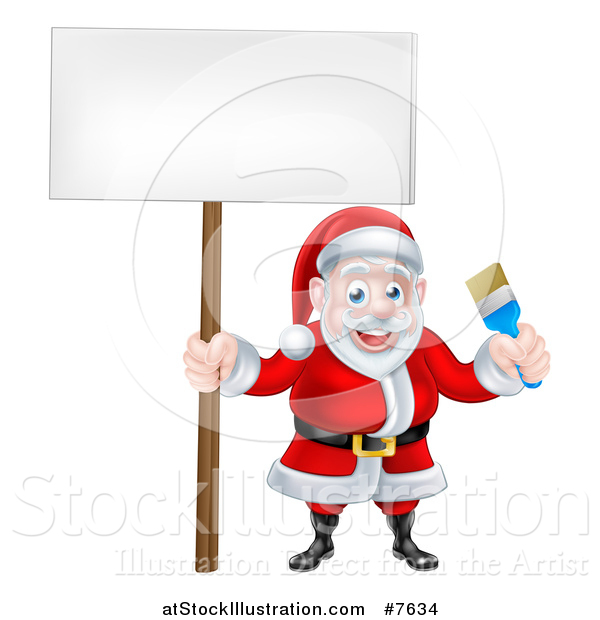 Vector Illustration of a Christmas Santa Claus Holding a Blue Paintbrush and Sign 2
