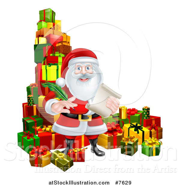 Vector Illustration of a Christmas Santa Claus Holding a Feather Pen and Scroll List by Gifts