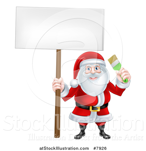 Vector Illustration of a Christmas Santa Claus Holding a Green Paintbrush and Blank Sign