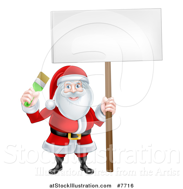 Vector Illustration of a Christmas Santa Claus Holding a Green Paintbrush and Sign
