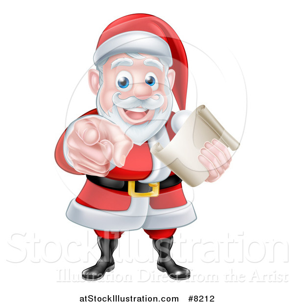 Vector Illustration of a Christmas Santa Claus Holding a List and Pointing at You