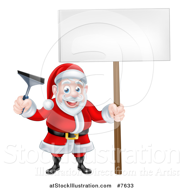 Vector Illustration of a Christmas Santa Claus Holding a Window Cleaning Squeegee and Blank Sign 3