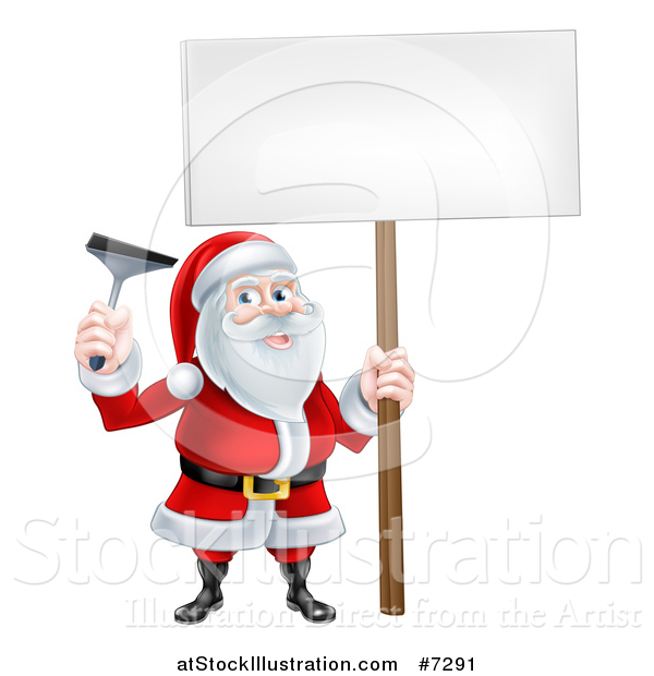 Vector Illustration of a Christmas Santa Claus Holding a Window Cleaning Squeegee and Blank Sign
