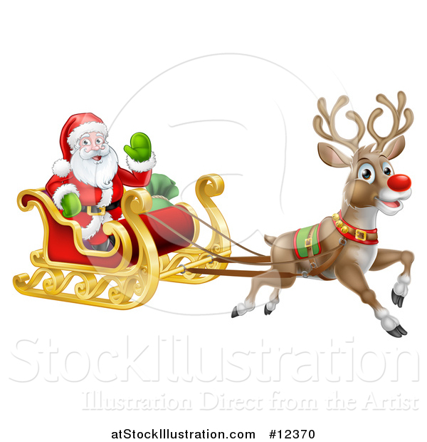 Vector Illustration of a Christmas Santa Claus in a Flying Magic Sleigh with a Reindeer