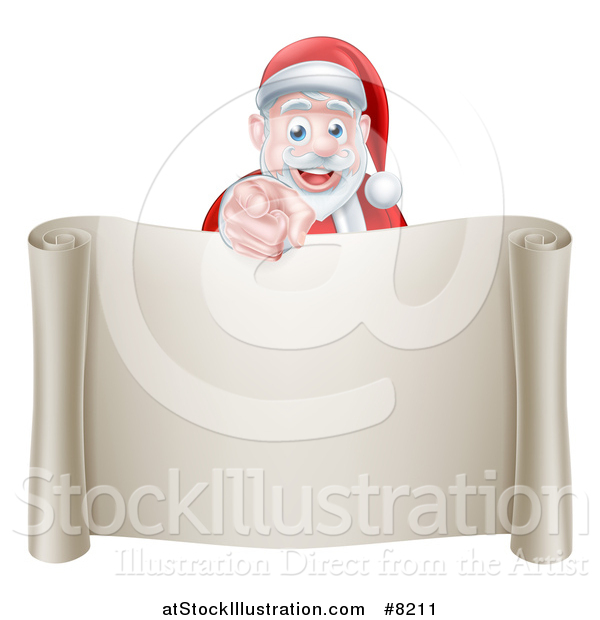 Vector Illustration of a Christmas Santa Claus Pointing at You over a Blank Scroll Page