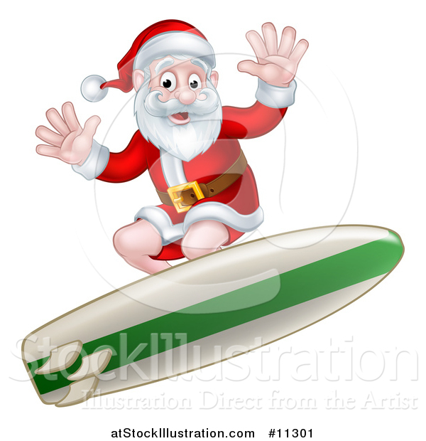 Vector Illustration of a Christmas Santa Claus Surfing