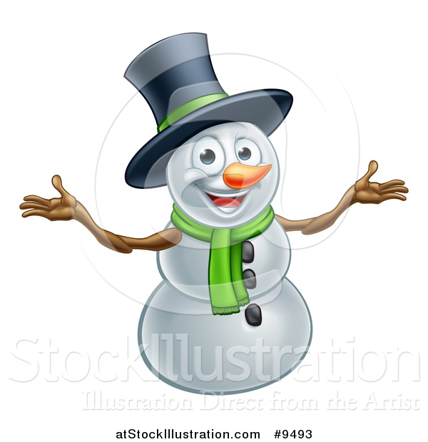 Vector Illustration of a Christmas Snowman Wearing a Green Scarf and a Top Hat