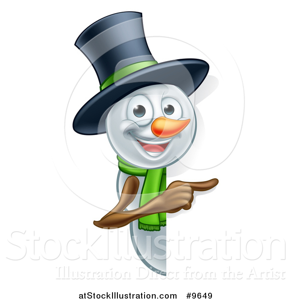 Vector Illustration of a Christmas Snowman Wearing a Green Scarf and a Top Hat, Pointing Around a Sign