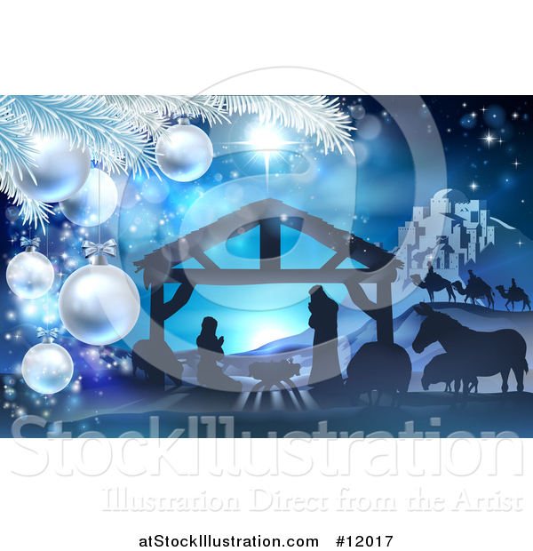 Vector Illustration of a Christmas Tree Branch Framing a Blue Toned Nativity Scene with Animals, Wise Men, the City of Bethlehem and Star of David