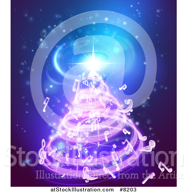 Vector Illustration of a Christmas Tree Formed of Music Notes on Blue