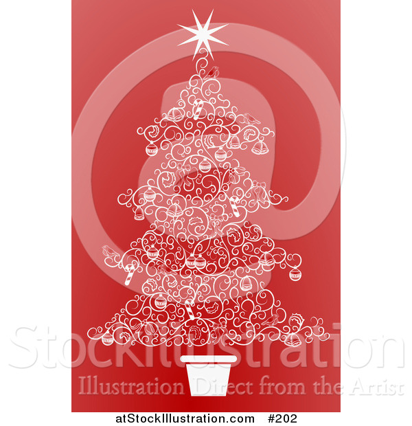 Vector Illustration of a Christmas Tree Made of White Swirls over Red