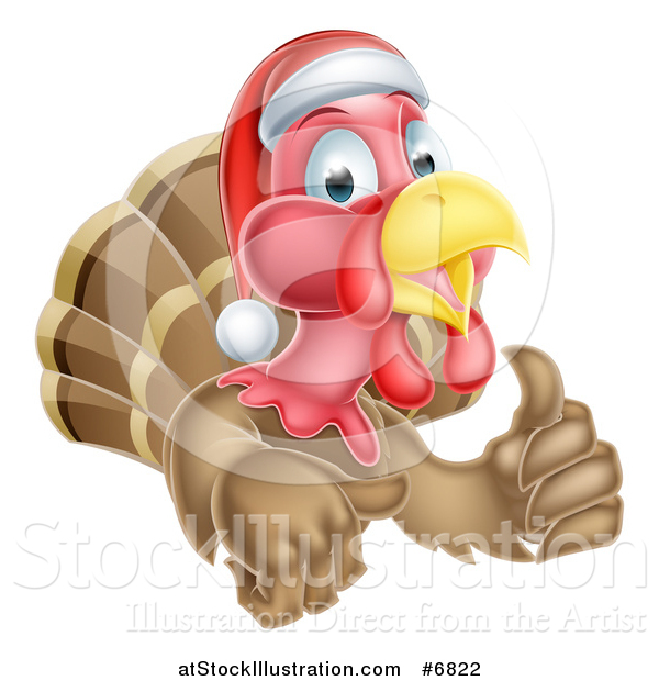 Vector Illustration of a Christmas Turkey Bird Wearing a Santa Hat and Giving a Thumb up