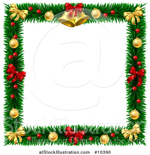 Vector Illustration of a Christmas Wreath Border Frame with Bells Bows and Baubles