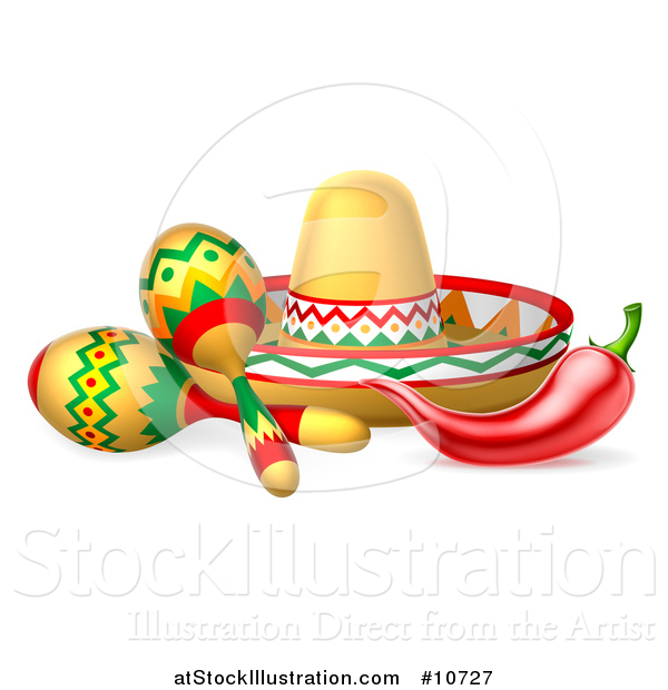 Vector Illustration of a Cinco De Mayo Design with a Chili Pepper, Maracas and Mexican Sombrero