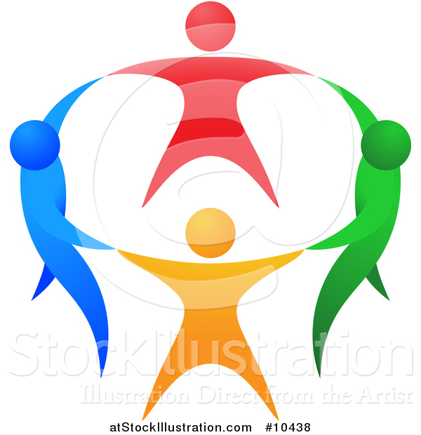 Vector Illustration of a Circle of Colorful People Holding Hands